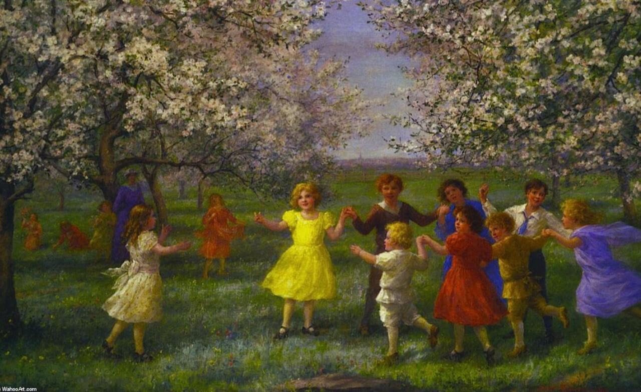Jennie Brownscombe - Children Playing in the Orchard